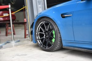 Blue BMW E92 M3 on Forgeline One Piece Forged Monoblock GS1R Wheels in Black Chrome PVD