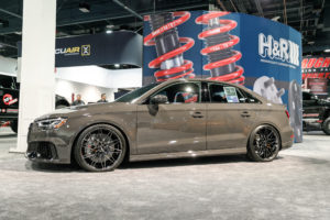 """H&R Special Springs' """"Grauschwarz"""" Audi RS3 on Forgeline One Piece Forged Monoblock MT1 Wheels"""