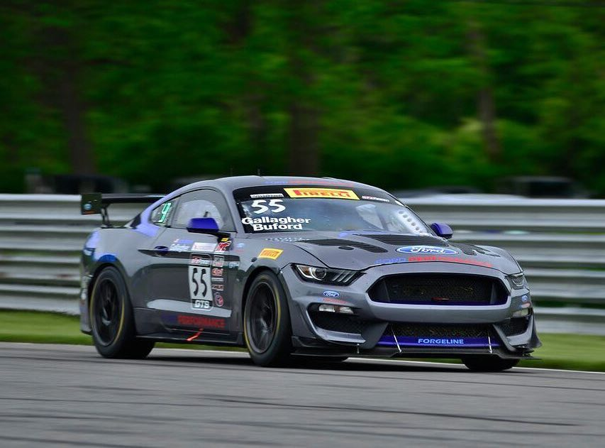 Race number one saw Jade Buford & Patrick Gallagher earn the class win, in their #55 PF Racing Ford Motor Company Mustang GT4 on Forgeline GS1R Wheels!