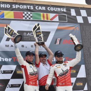 KohR Motorsports on the IMSA Continental Tire Sports Car Challenge Podium at Mid-Ohio