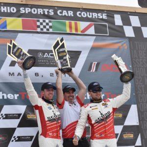 KohR Motorsports on the IMSA Continental Tire Sports Car Challenge Podium at Mid-Ohio