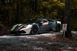 Atlanta Custom Wraps' Camo Lamborghini Huracan on Forgeline Carbon+Forged CF202 Wheels