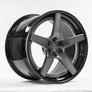Forgeline AL300 Finished with Transparent Smoke Center, Gloss Black Outer, and Gloss Black Inner
