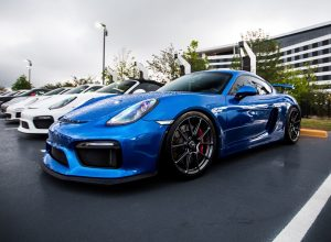 Blue Porsche Cayman GT4 on Forgeline One Piece Forged Monoblock GS1R Wheels
