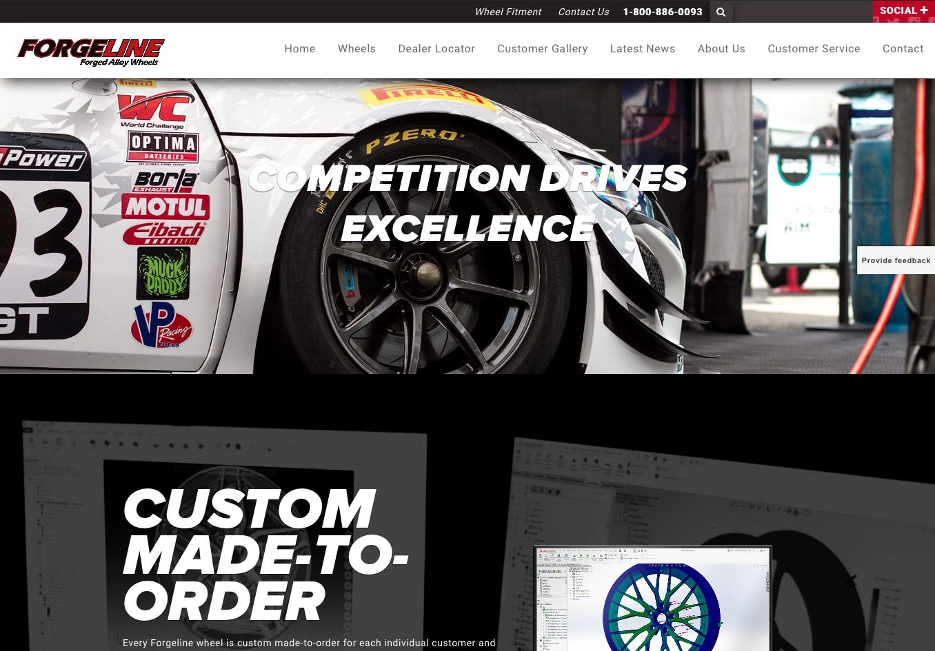 Forgeline.com home page screen shot as of 062518.