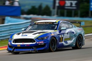 The race-winning #8 Multimatic Motorsports Ford Mustang GT4 on Forgeline one piece forged monoblock GS1R wheels, at Watkins Glen
