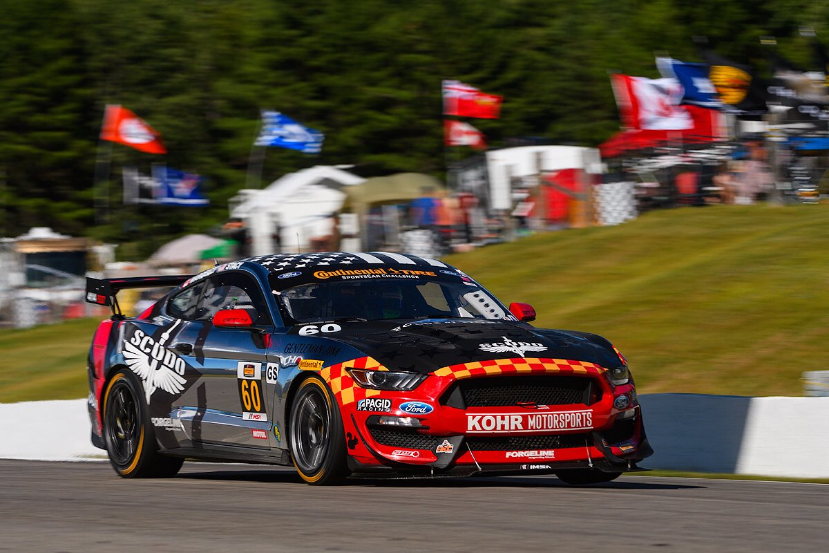 KohR Motorsports #60 Ford Mustang GT4 wins at Canadian Tire Motorsports Park on Forgeline one piece forged monoblock GS1R wheels