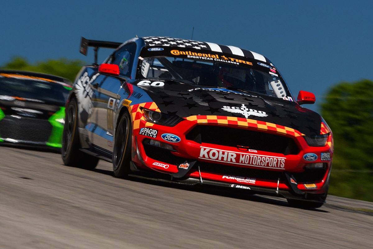 The race-winning #60 KohR Motorsports Ford Mustang GT4 on Forgeline one piece forged monoblock GS1R wheels, at Canadian Tire Motorsports Park