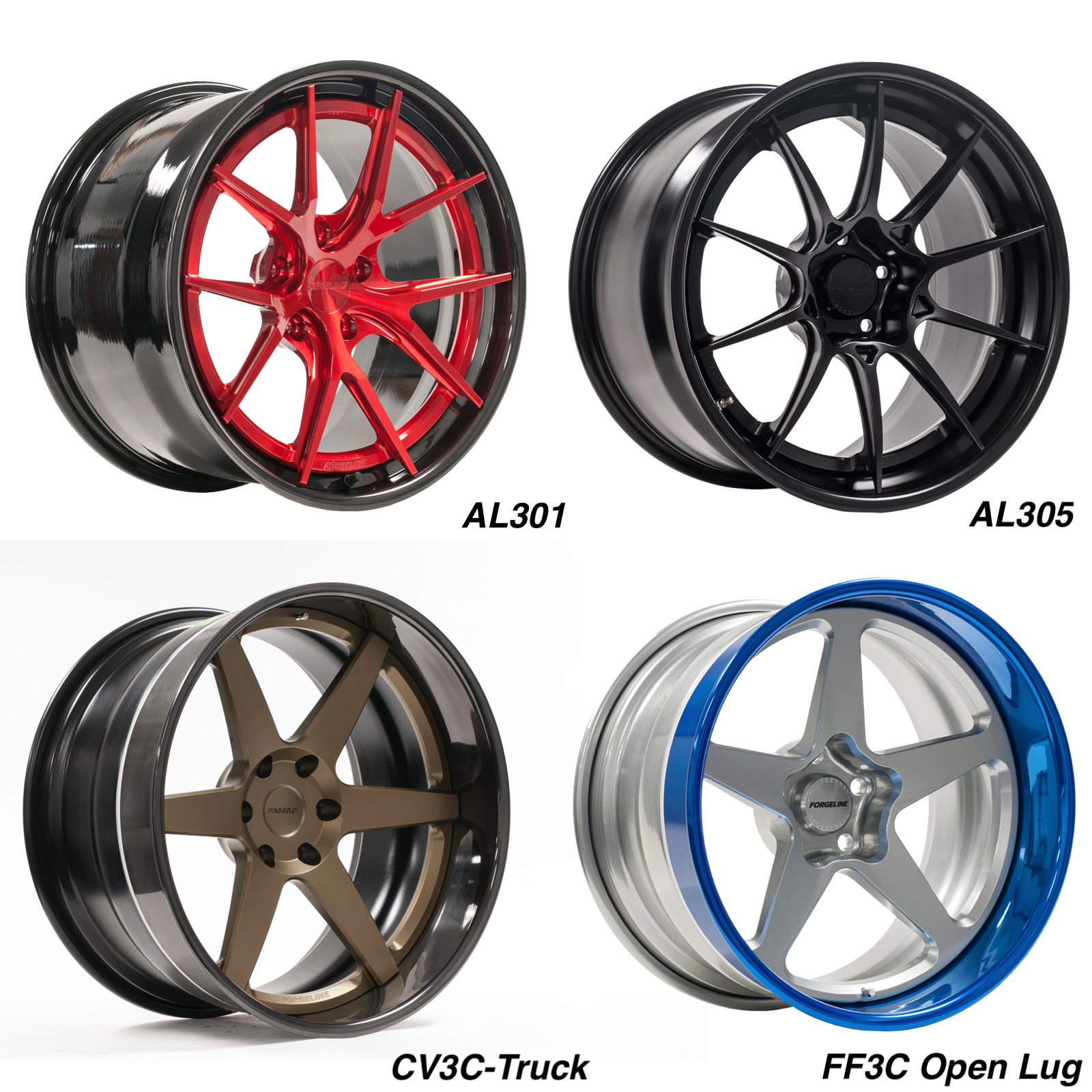 New Forgeline AL301, AL305, CV3C-Truck, and FF3C Open Lug Wheels