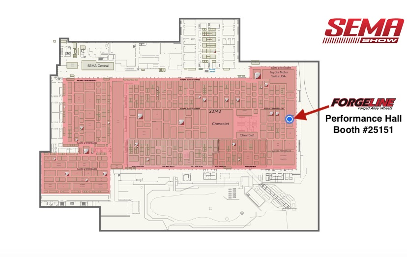 SEMA Floor Plan Map. See Forgeline at Booth #25151