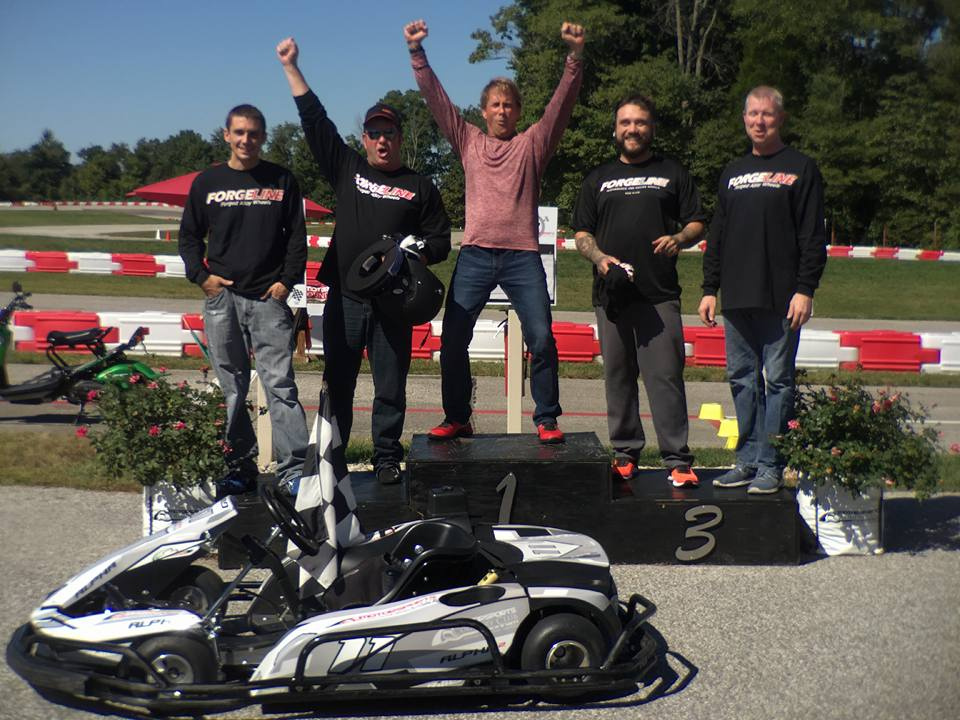 Team Forgeline getting silly on the go-kart podium