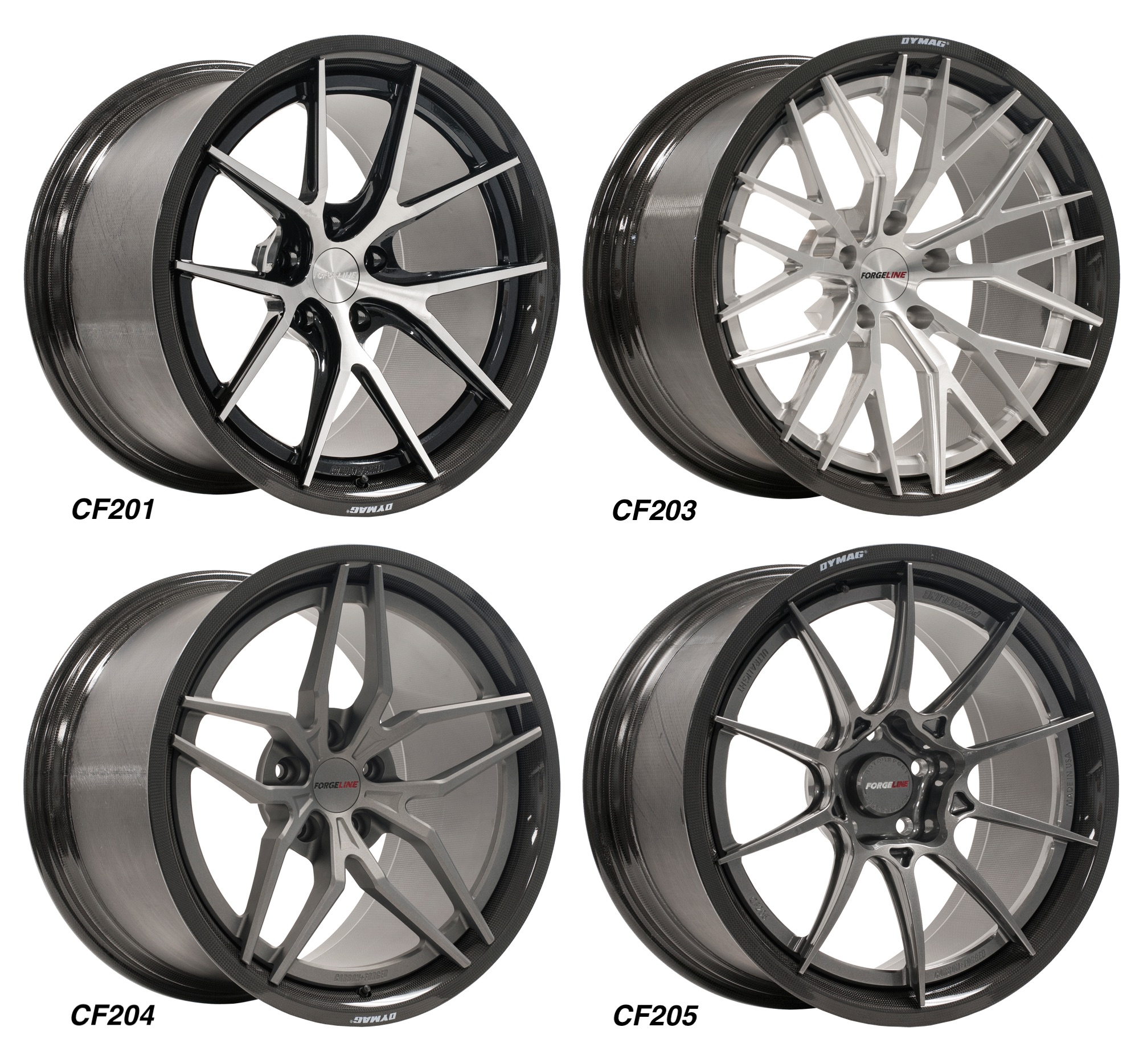 Forgeline Carbon+Forged Series CF201, CF203, CF204, and CF205 Wheels on Dymag Carbon Fiber Barrels
