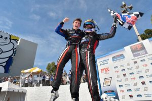 Priaulx and Austin Cindric celebrate their Michelin Pilot Challenge GS class victory at Road Atlanta