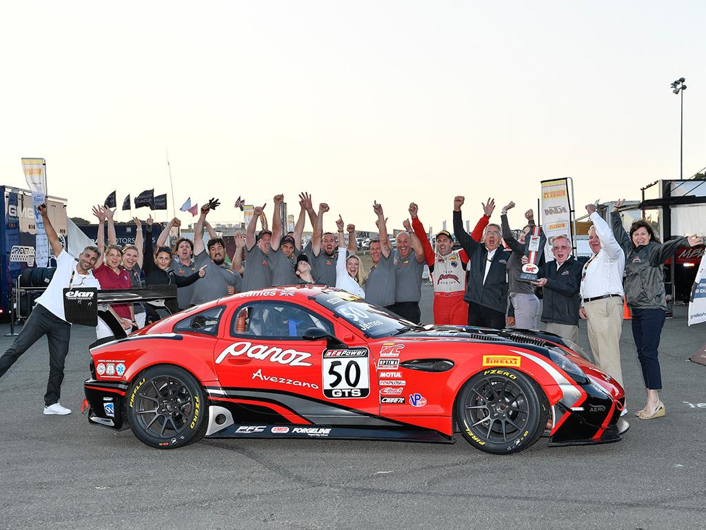 Team Panoz celebrates at SRO GT4 America season finale at Las Vegas Motor Speedway