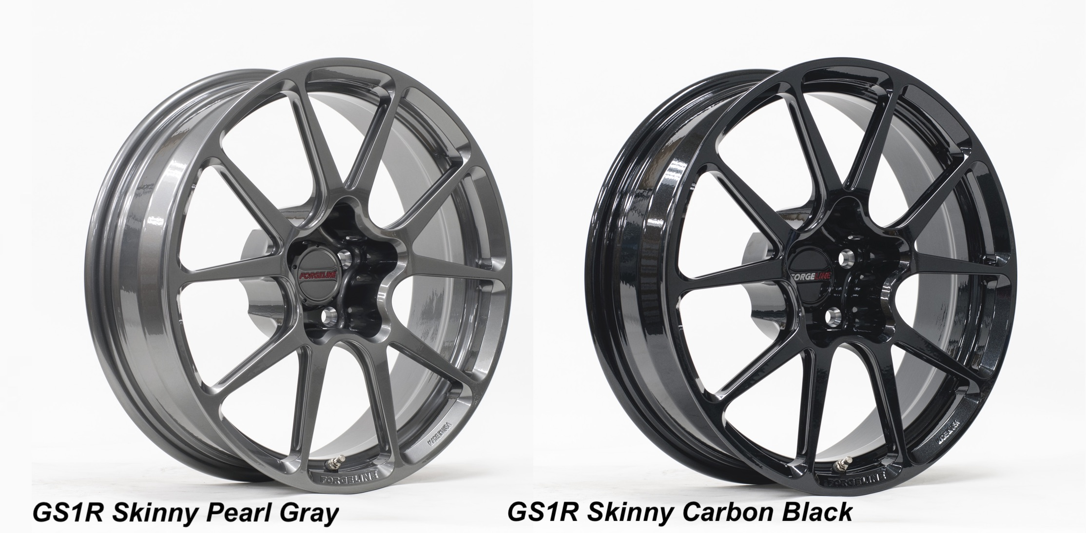 Forgeline 18x5 Skinnies Pearl Gray and Carbon Black