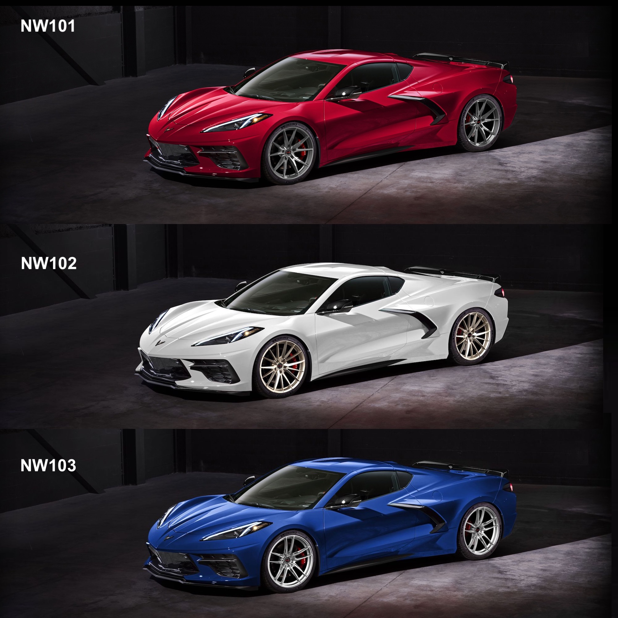 C8 Corvettes on Forgeline NW101, NW102, and NW103 Wheels