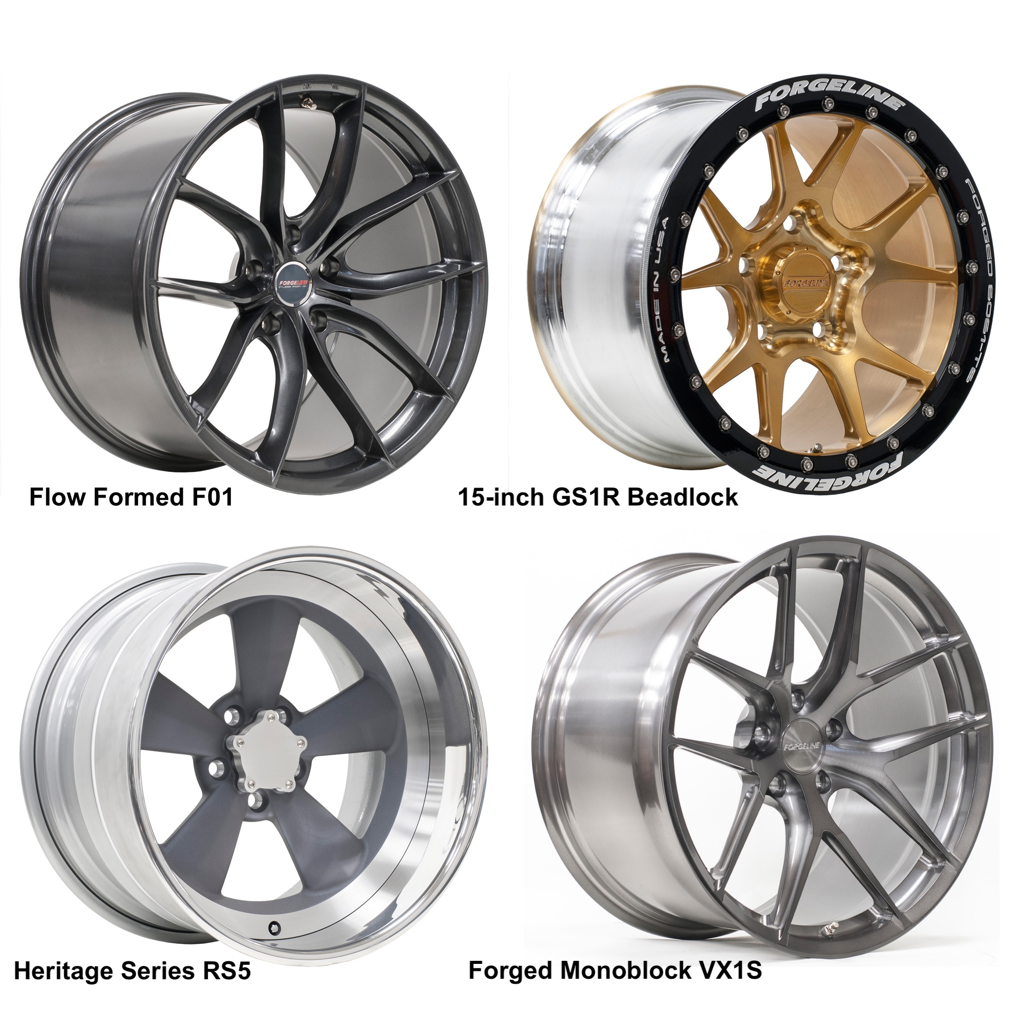 Forgeline F01, GS1R Beadlock, RS5, and VX1S Wheels