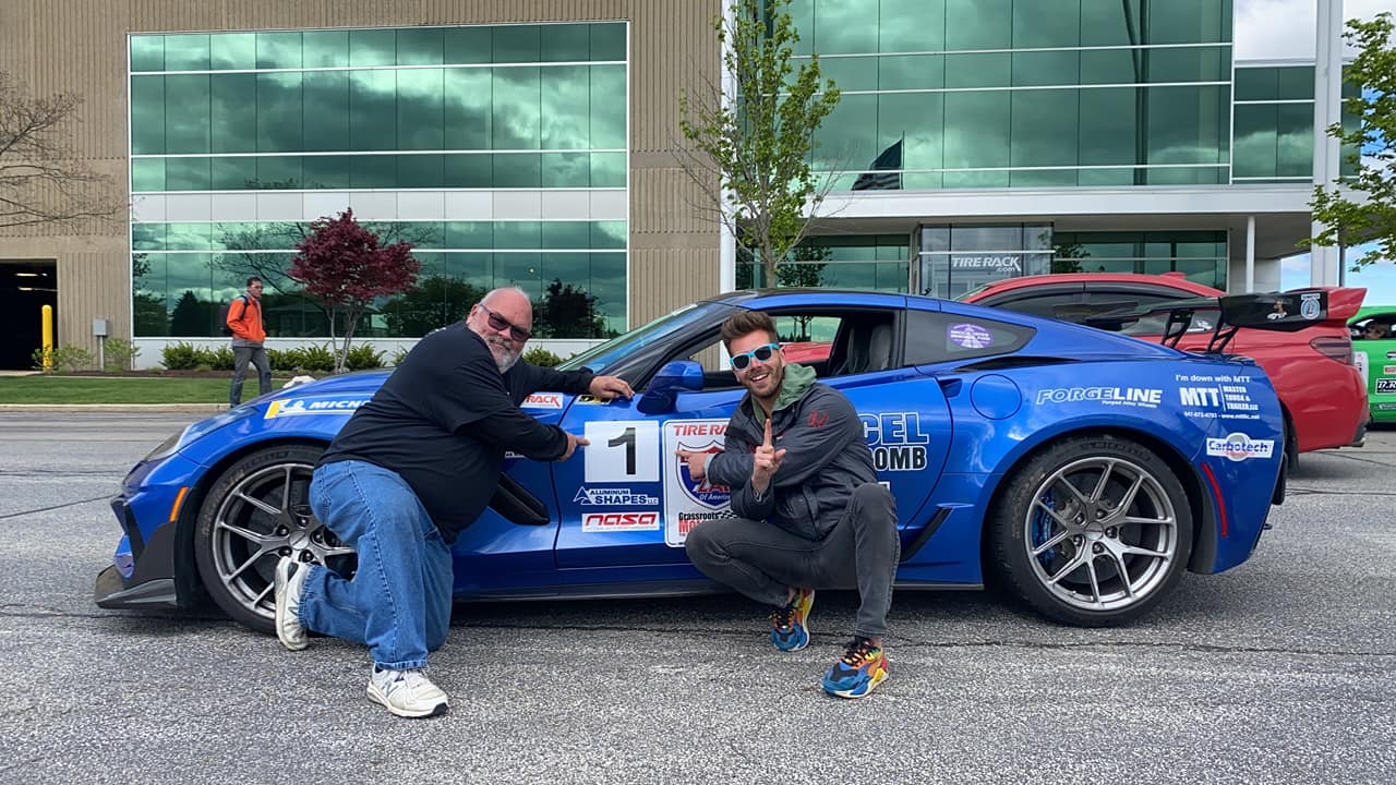 Steve Loudin and Tom O'Gorman win the 2021 One Lap of America race in Steve's C7 Corvette ZR1 on Forgeline one piece forged monoblock VX1R wheels